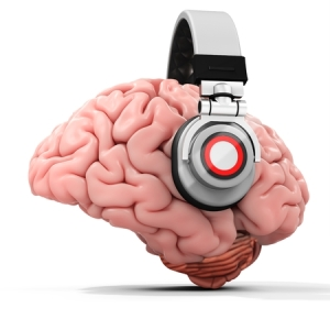53467494 - 3d human brain with headphones on white background
