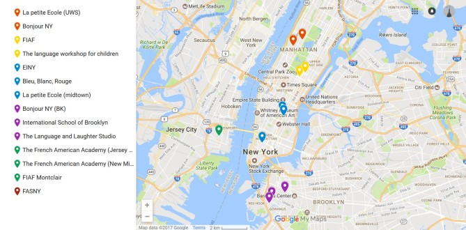 Map of the Summer camps in French - NYC